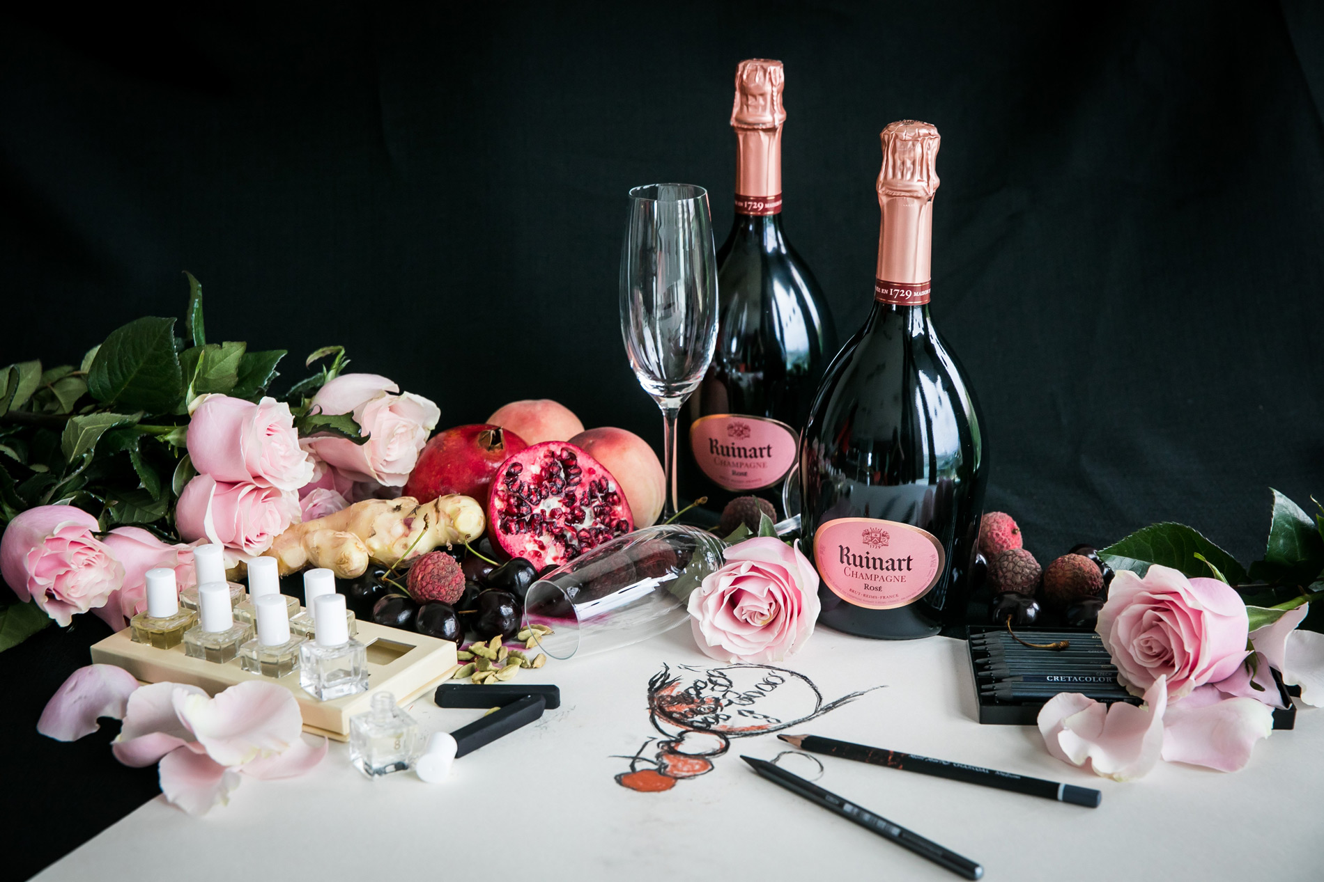 Media Office Mca Australia Catriona Rosy Shoulder Bag Maroon Bottles Of Champagne With Roses And Drawing Utensils On A Table