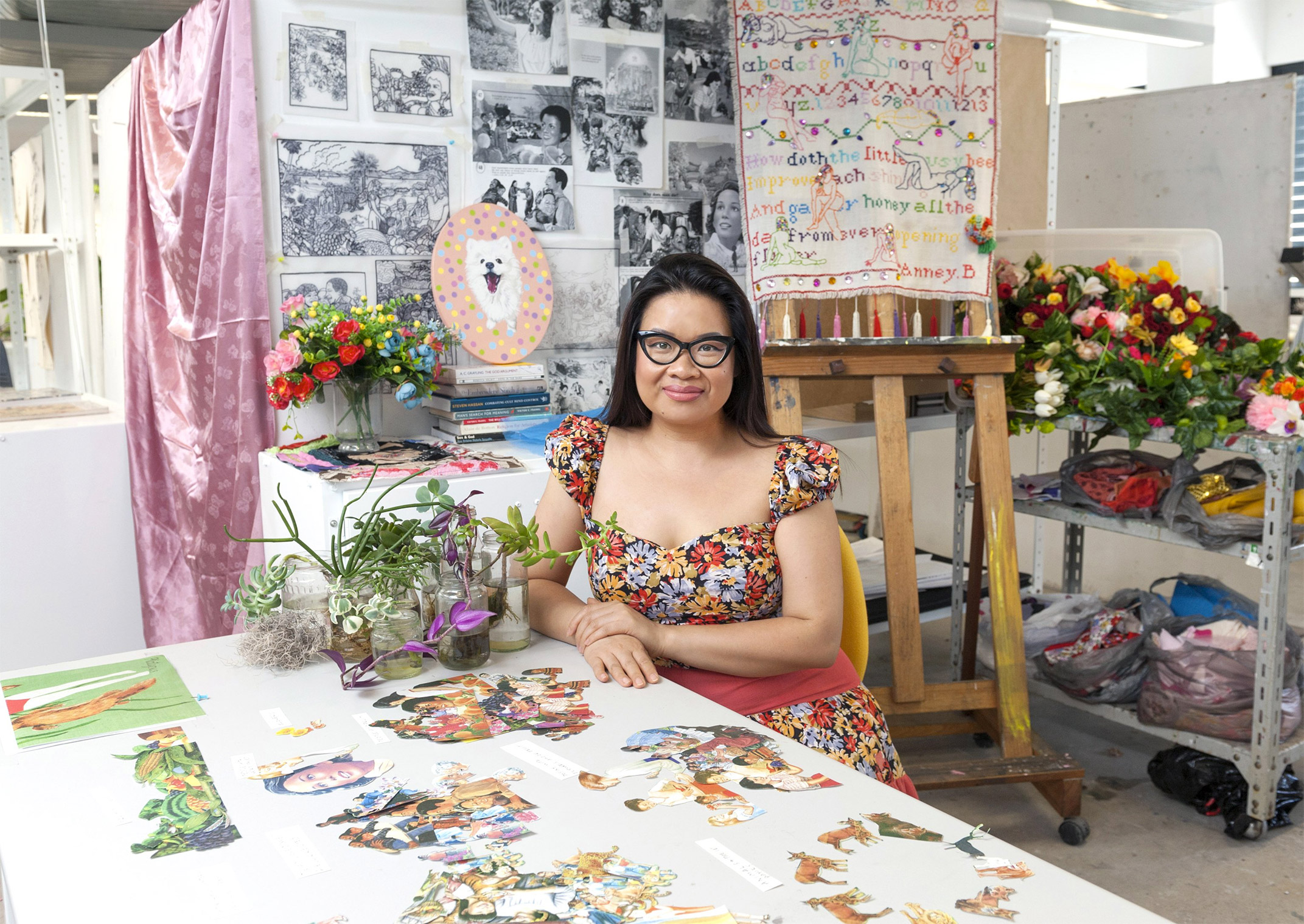 February artbar curator anney bounpraseuth talks paradise on earth anney bounpraseuth ugly duckling 2017 wire and faux flower interactive installation photograph peter morgan izmirmasajfo
